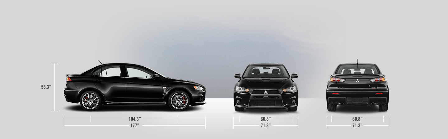 2014 Mitsubishi Lancer Evolution measurements