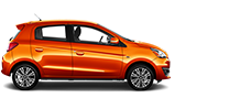 Exterior side view of a orange 2019 Mitsubishi Mirage compact car on a black background.