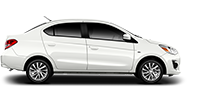Exterior side view of a white 2019 Mitsubishi Mirage G4 sedan on a black background.