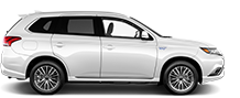 Exterior side view of a white 2019 Mitsubishi Outlander PHEV SUV on a black background.