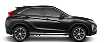 Exterior side view of a black 2020 Mitsubishi Eclipse Cross Crossover on a black background.