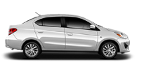 Exterior side view of a white 2020 Mitsubishi Mirage G4 sedan on a black background.