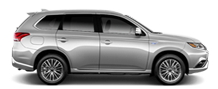 Exterior side view of a white 2020 Mitsubishi Outlander PHEV SUV on a black background.