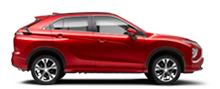 Exterior side view of a red 2022 Mitsubishi Eclipse Cross Crossover on a white background.