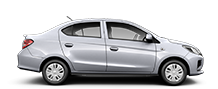 Exterior side view of a white 2021 Mitsubishi Mirage G4 sedan on a black background.
