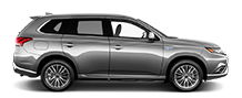 Exterior side view of a alloy silver 2021 Mitsubishi Outlander PHEV SUV on a black background.