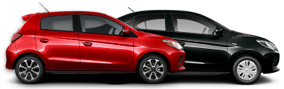 Side profiles of a 2022 Mitsubishi Mirage G4 in black and a red 2022 Mitsubishi Mirage