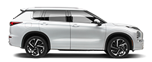 Exterior side view of a grey 2020 Mitsubishi Outlander SUV on a black background.