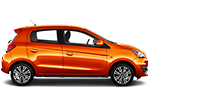 Side view of a 2019 Mitsubishi Mirage Car in Orange