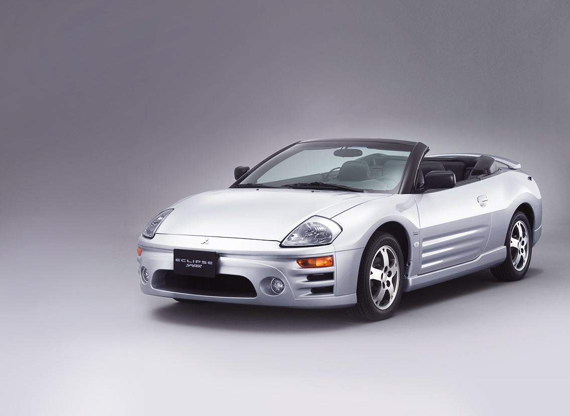 Font of a 2012 Mitsubishi Eclipse Spyder Special Edition convertible in silver