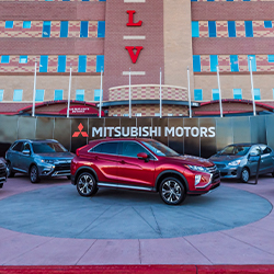 Mitsubishi vehicles parked outside the UNLV stadium for the 2019 Las Vegas Bowl.