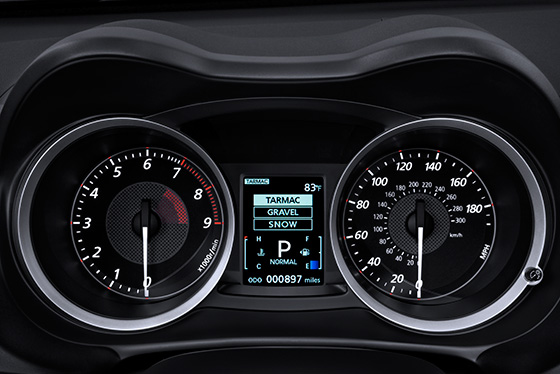 Lancer Evolution high contrast sport meters with color LCD display
