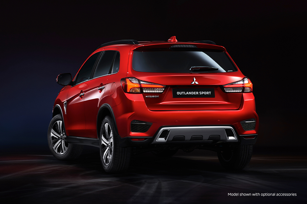 The back of a new red 2020 Mitsubishi Outlander Sport