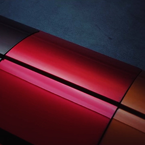 Close up showing the contours of a red 2020 Mitsubishi Outlander Sport