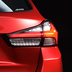 Close up of the back bumper of a red 2020 Mitsubishi Outlander Sport