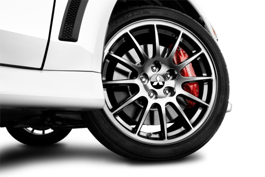 "Roll up in style with 18"" Enkei® dark alloy wheels, only on the Evolution Final Edition."