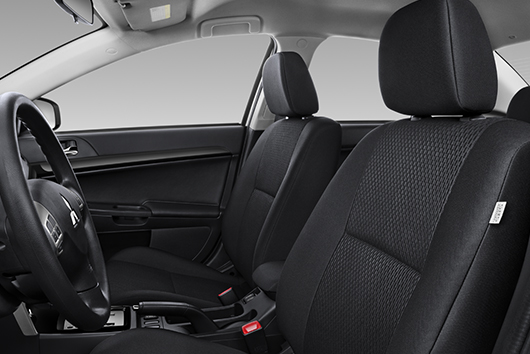 Lancer gives you your choice between two seating options: high-quality fabric or premium leather seating surfaces