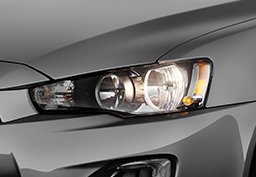 Bright halogen headlights are standard on every Lancer, and auto on/off halogen headlights are standard on SEL and GT