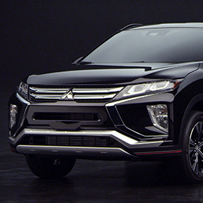 Front view of a black 2019 Mitsubishi Eclipse Cross.