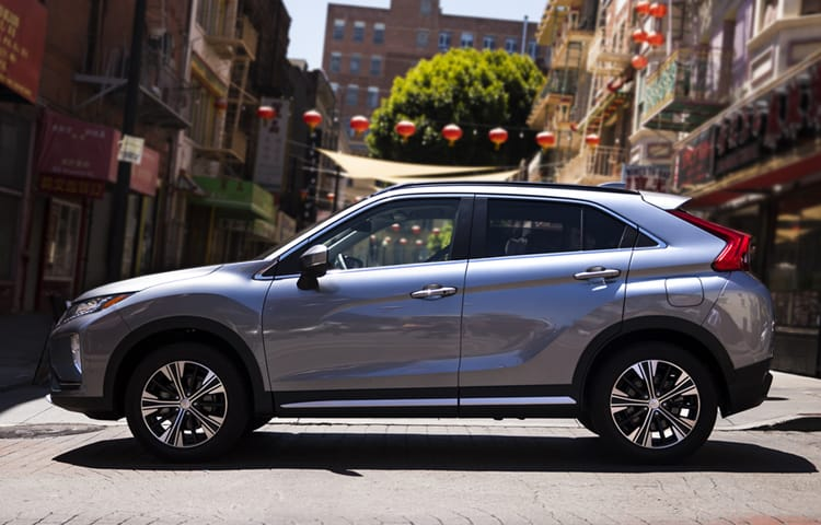 "Make dramatic arrivals with the Eclipse Cross's striking 18"" two tone alloy wheels."