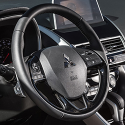 Close up shot of 2020 Mitsubishi Eclipse Cross steering wheel