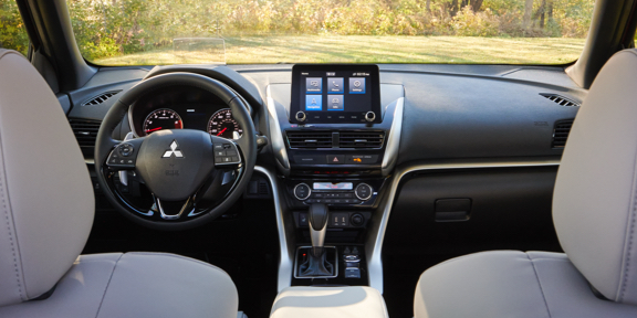 Black passenger and driver seat and full black interior in the 2021/2022 Mitsubishi Eclipse Cross crossover
