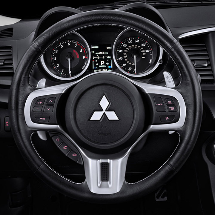 leather wrapped steering wheel 2015 mitsubishi lancer evo - Mitsubishi Lancer Evolution 2015 White