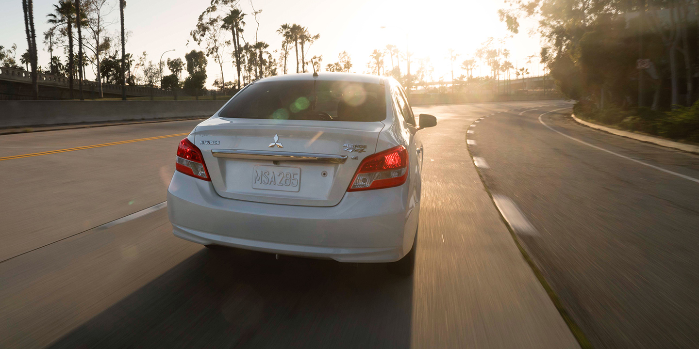 2018 Mitsubishi Mirage G4 riding into the sunset