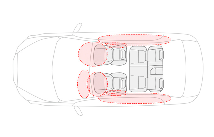 A schematic overhead image depicting the 7 airbag safety system found in the 2019 Mitsubishi Mirage G4.