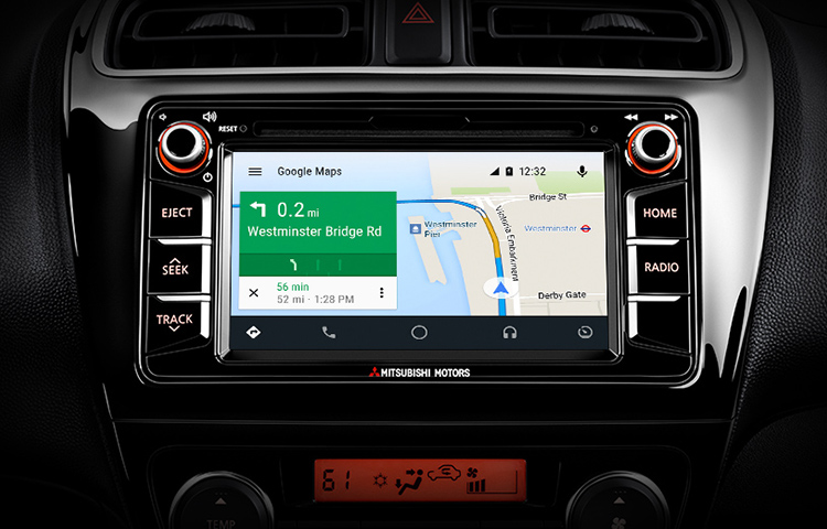 A close up image of the Android Auto system that's available in the 2019 Mitsubishi Mirage G4.