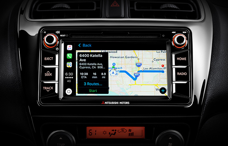 A close up image of the Apple CarPlay system that's available in the 2019 Mitsubishi Mirage G4.