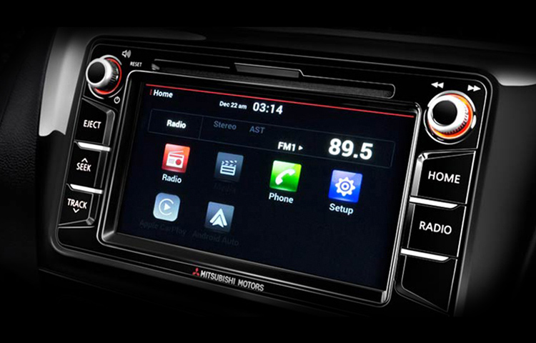 A close up image of the smart touchscreen display system found in the 2019 Mitsubishi Mirage G4.
