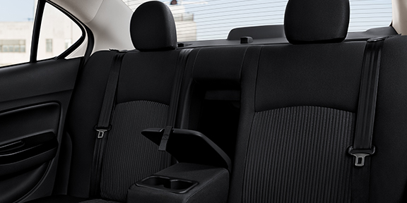 Interior view of the rear seats in a 2019 Mitsubishi Mirage G4 car.