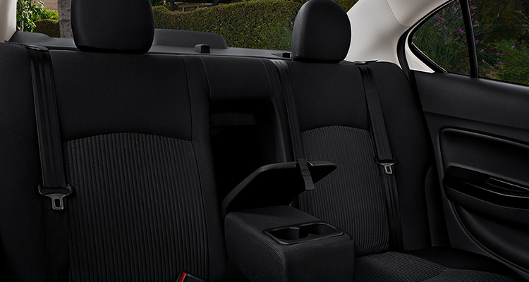 The back seat of the 2019 Mitsubishi Mirage G4.