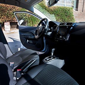 Left view of driver seat interior in a 2020 Mitsubishi Mirage G4 compact car