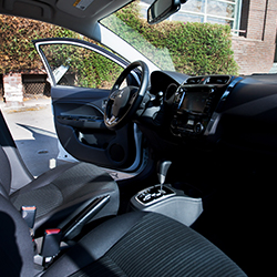 Interior passenger view inside the 2020 Mitsubishi Mirage G4 sedan.