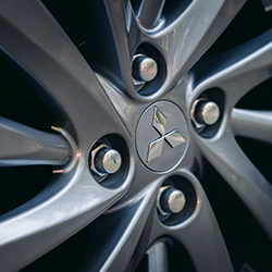 Close up of the rims on a 2020 Mitsubishi Mirage G4 wheel.