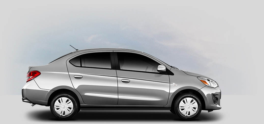 A 2020 Mitsubishi Mirage G4 ES with starlight-silver-metallic color.
