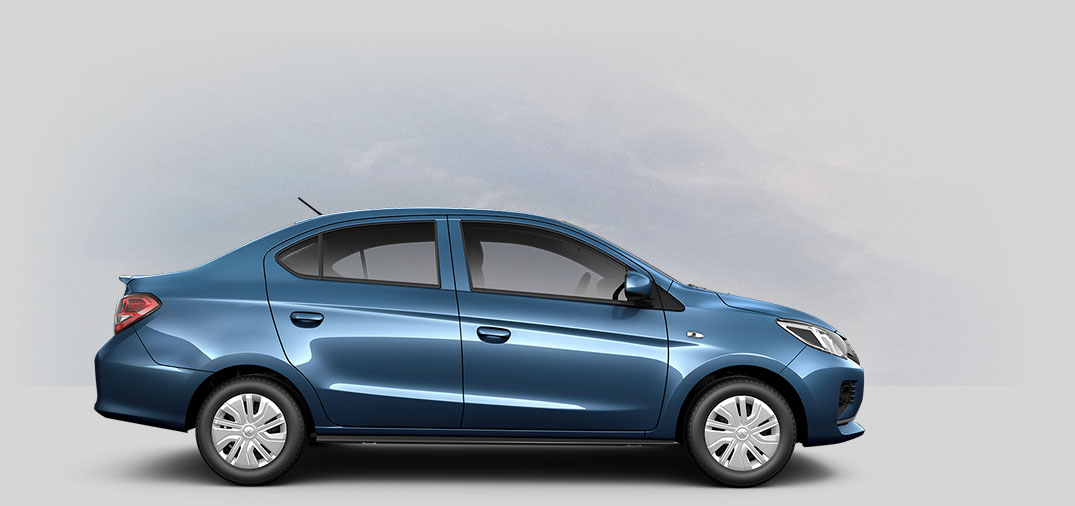 A 2021 Mitsubishi Mirage G4 ES with sapphire-blue-metallic color.