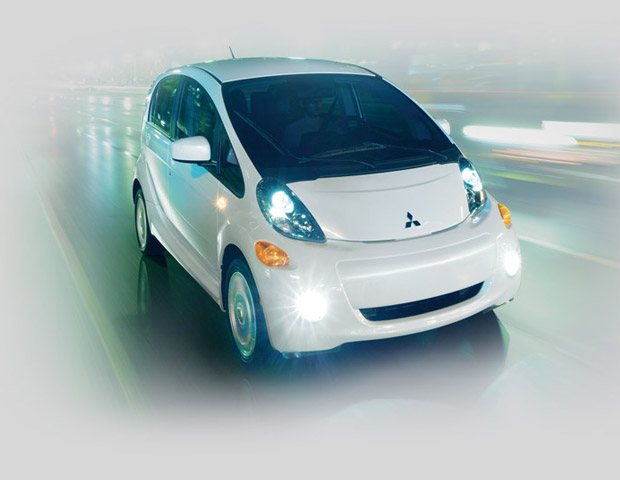 2017 Mitsubishi imiev exterior with battery warranty and driver wearing safety belt