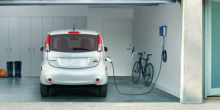 inside 2017 Mitsubishi iMiEV garage with home charger