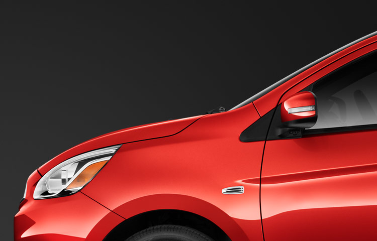 2017 Mitsubishi Mirage exterior in Infared showing enhanced driver visibility