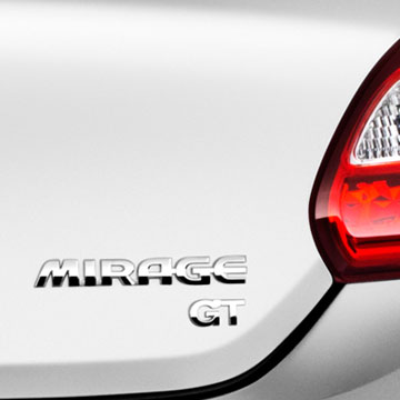 2017 MItsubishi Mirage GT trim model emblem on rear exterior