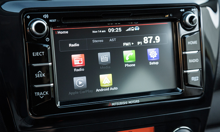 Apple Carplay and Android Auto smartphone connect in 2017 Mitsubishi Mirage interior