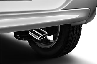 Polished exhaust finisher on 2018 Mitsubishi Mirage hatchback