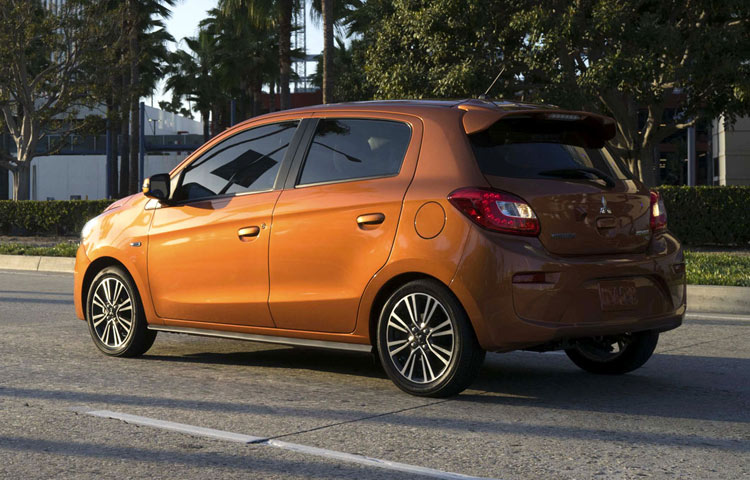2018 Mitsubishi Mirage rear view sun