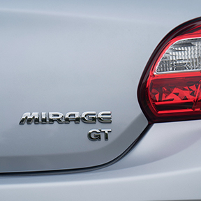 Close up of the rear badge of a 2019 Mitsubishi Mirage.