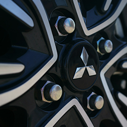 Close up of the 15 inch two tone alloy wheels available on the 2019 Mitsubishi Mirage.