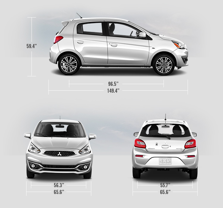 2019 Mitsubishi Mirage measurements