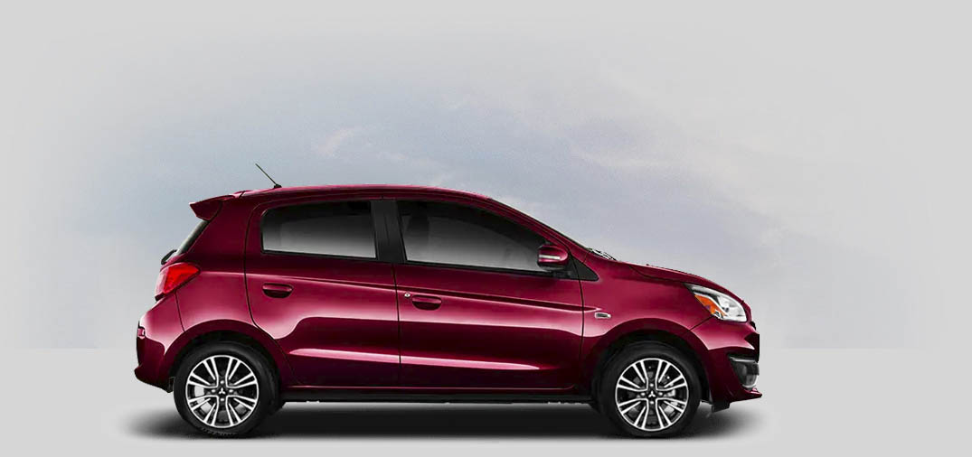 A 2020 Mitsubishi Mirage GT with wine red metallic color.